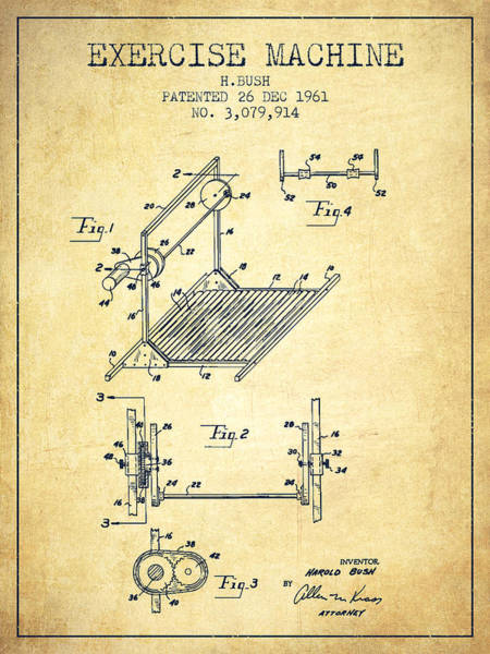 Exercise Machine Patent From 1961 - Vintage Art Print