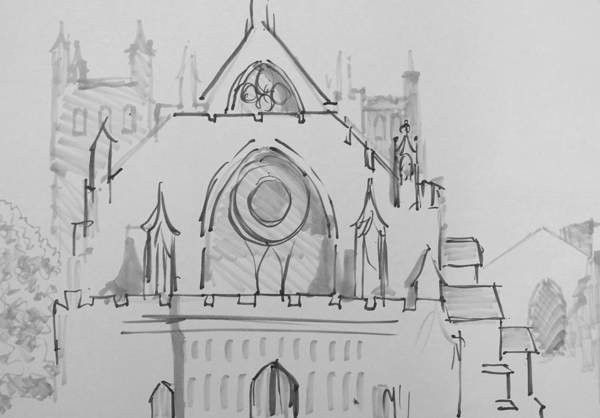 Drawing - Exeter Cathedral by Mike Jory