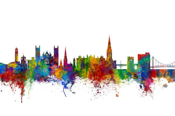 Wall Art - Digital Art - Exeter England Skyline by Michael Tompsett