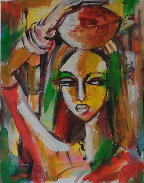 Wall Art - Painting - Exhausted by Sudumenike Wijesooriya