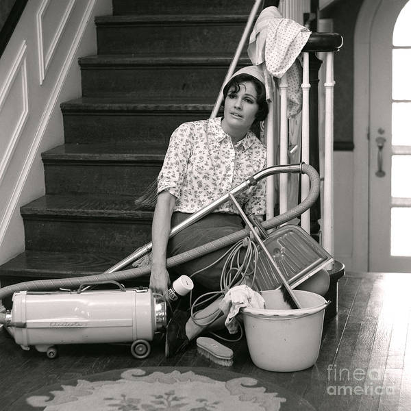 Weary Photograph - Exhausted Woman With Cleaning by H. Armstrong Roberts/ClassicStock