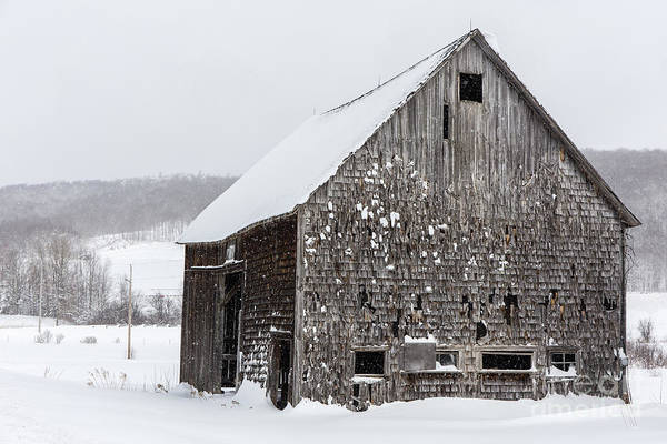 Photograph - Exit 14 Old Abandoned Wooden Barn Winter Grantham New Hampshire by Edward Fielding