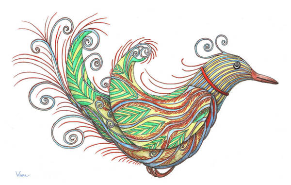 Curl Up Painting - Exotic Bird I by Lise Winne