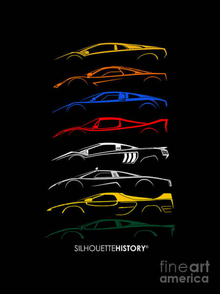 Wall Art - Digital Art - Exotic Cars Of 90s Silhouettehistory by Gabor Vida