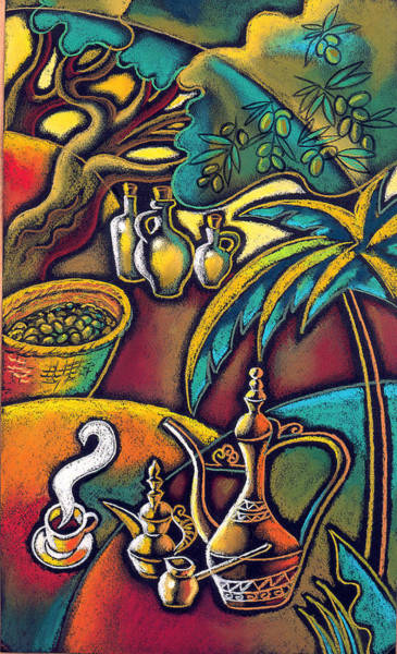 Olive Oil Painting - Exotic East, Coffee And Olive Oil by Leon Zernitsky