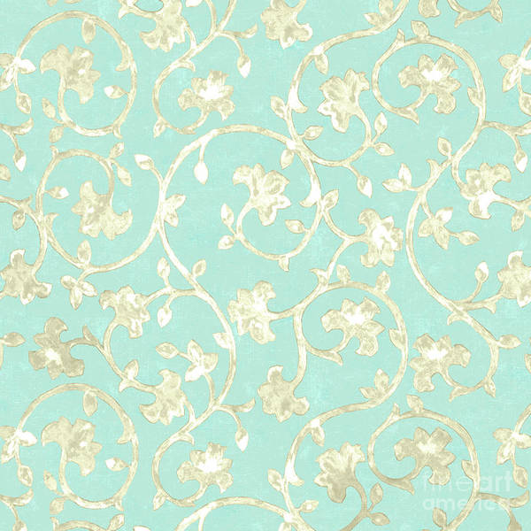 Wall Art - Painting - Exotic Golden Baroque Floral Damask Pattern, Robin's Egg Blue by Tina Lavoie