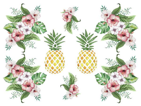 Painting - Exotic Hawaiian Flowers And Pineapple by Georgeta Blanaru
