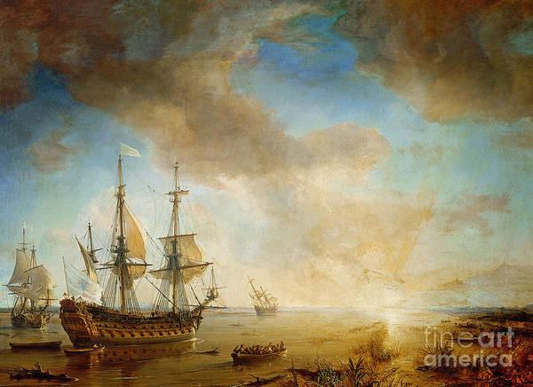 Galleons Wall Art - Painting - Expedition Of Robert Cavelier De La Salle  by Jean Antoine Theodore Gudin
