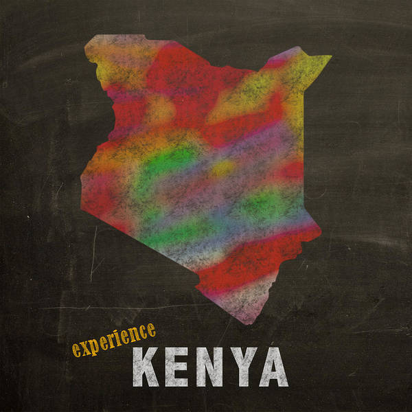 Kenya Mixed Media - Experience Kenya Map Hand Drawn Country Illustration On Chalkboard Vintage Travel Promotional Poster by Design Turnpike