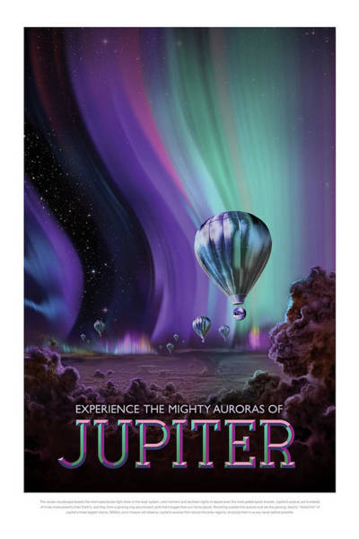 Photograph - Experience The Mighty Auroras Of Jupiter - Vintage Nasa Poster by Mark Kiver