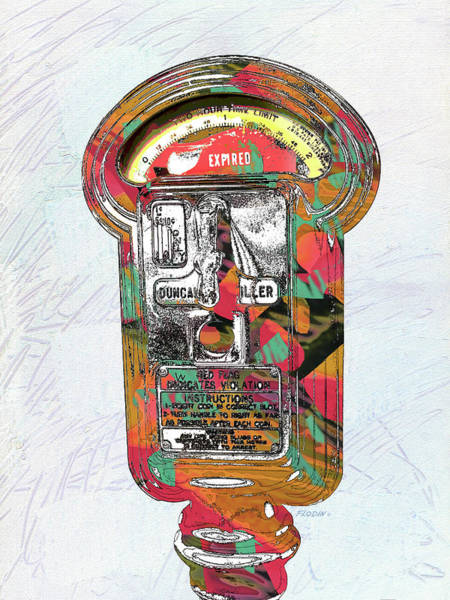 Violation Mixed Media - Parking Meter, Expired, Pop Art Style, Contemporary Wall Art, Giclee Paper Print, Modern Canvas Art by Mick Flodin