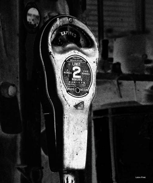 Photograph - Expired Vintage Parking Meter Black And White by Lesa Fine