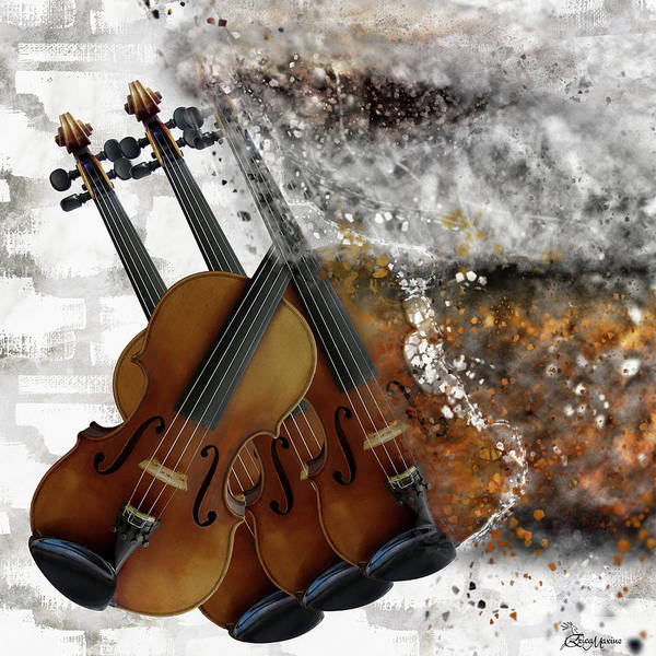 Digital Art - Exploding Violins by Ericamaxine Price