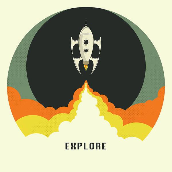 Spaceship Wall Art - Digital Art - Explore Space by Jazzberry Blue