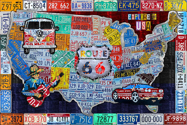 Collage Mixed Media - Explore The Usa License Plate Art And Map Travel Collage by Design Turnpike