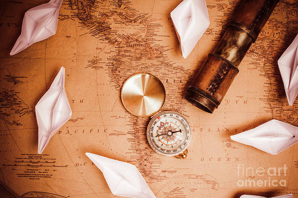 Map Photograph - Explorer Desk With Compass, Map And Spyglass by Jorgo Photography - Wall Art Gallery