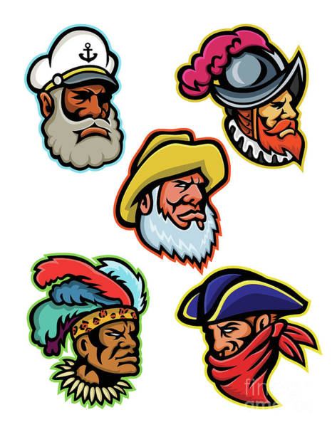 Wall Art - Digital Art - Explorers, Captains And Warrior Mascot by Aloysius Patrimonio