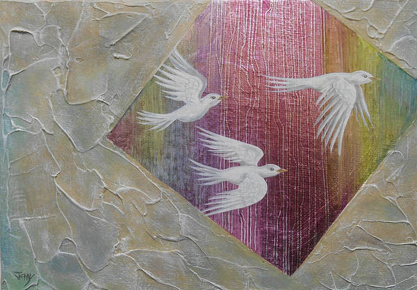Wall Art - Painting - Exploring Density With White Birds by Jennifer Baird