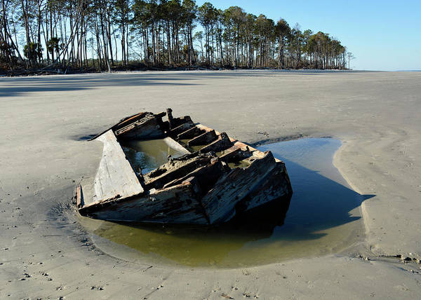 Photograph - Exposed Boat Jekyll Island by Bruce Gourley