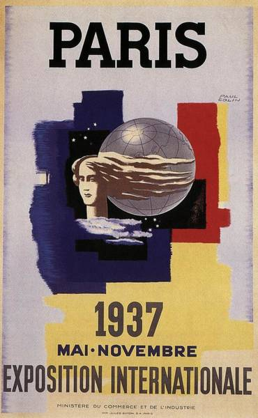 Statue Mixed Media - Exposition Internationale 1937, Paris - Retro Travel Poster - Vintage Poster by Studio Grafiikka