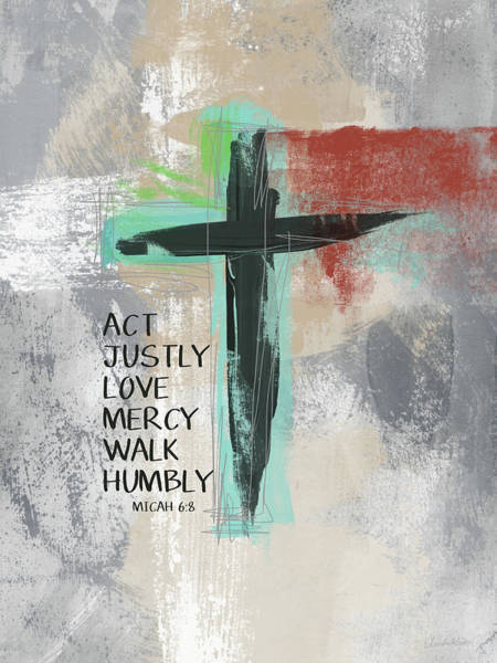 Bedroom Decor Wall Art - Mixed Media - Expressionist Cross Love Mercy- Art By Linda Woods by Linda Woods