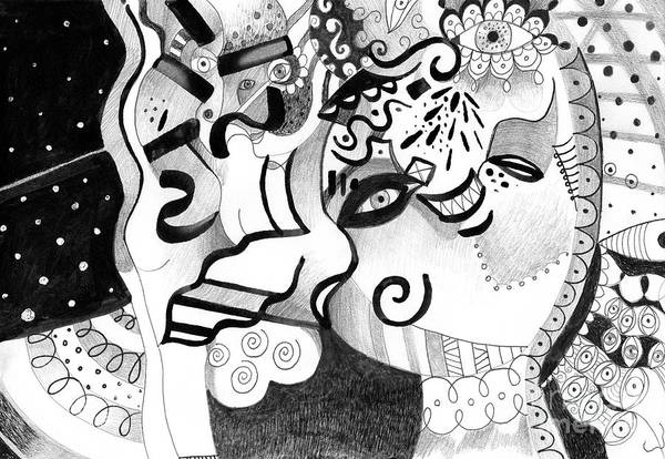 Organic Abstraction Drawing - Expressions by Helena Tiainen