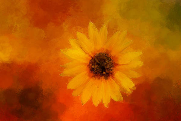 Wall Art - Digital Art - Expressive, Bright Sunflower by Terry Davis