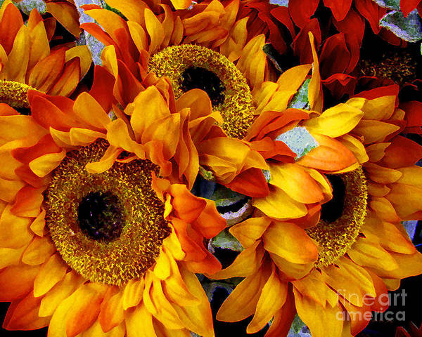 Painting - Expressive Digital Sunflowers Photo by Mas Art Studio