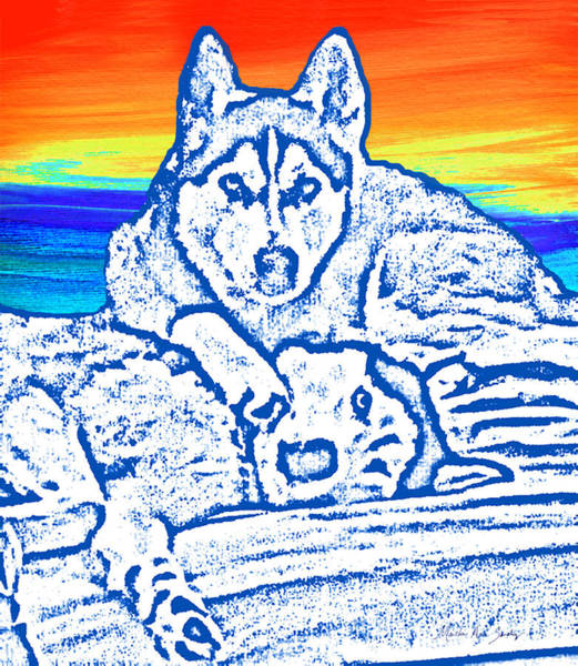 Painting - Expressive Huskies Mixed Media C51816 by Mas Art Studio