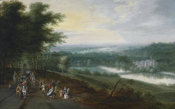 Painting - Extensive River Landscape With Travelers And Dancing Peasants On A Path by Jan Brueghel the Younger