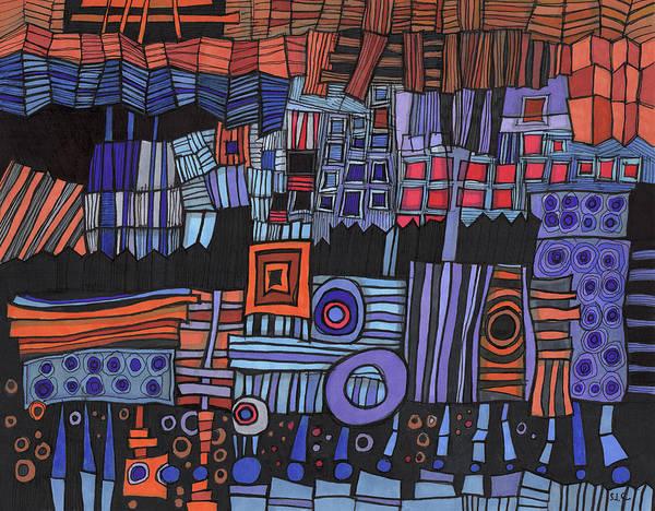 Semi Abstract Drawing - Exterior Facade by Sandra Church