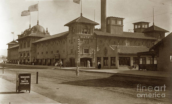 Photograph - Exterior View Of The Bathhouse At Redondo Beach, Ca.1915 by California Views Archives Mr Pat Hathaway Archives