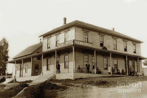 Photograph - Exterior Views Of Olema Hotel With People Assembled On Porch.  Marin Co. 1890 by California Views Archives Mr Pat Hathaway Archives