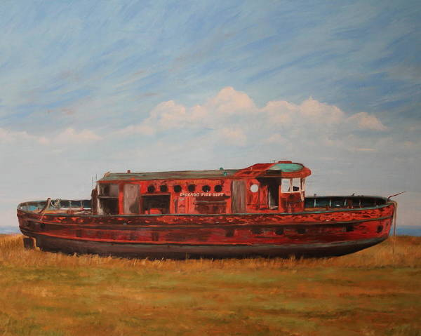 Fireboat Wall Art - Painting - Extinguished   The Joseph Medill Fireboat by Daniel W Green