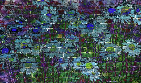 Extraordinary Blue Daisies Graffiti On A Brick Wall Art Print