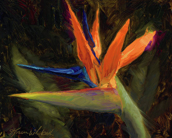 Birds And Flowers Painting - Extravagance - Tropical Bird Of Paradise Flower by Karen Whitworth
