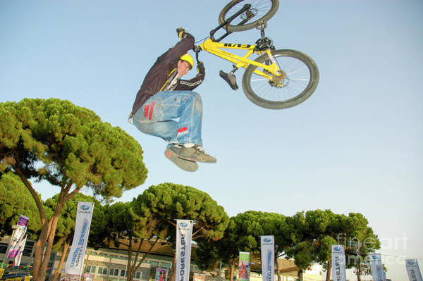 Wall Art - Photograph - Extreme Bicycle Sport Jump by Shay Levy