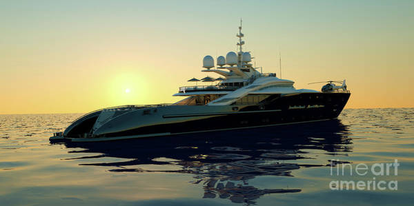 Speed Boat Digital Art - Extremely Detailed And Realistic High Resolution 3d Illustration Of A Luxury Super Yacht With A Helicopter, A Swimming Pool And A Jacuzzi by Sasa Kadrijevic