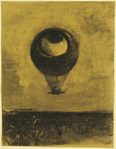 Drawing - Eye-balloon by Odilon Redon
