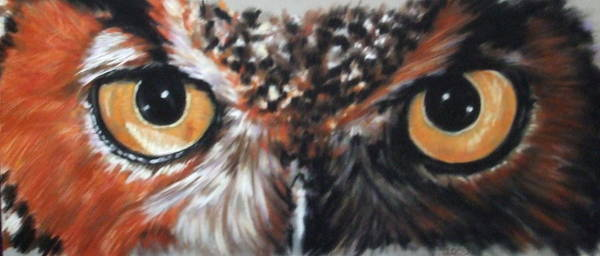 Wall Art - Pastel - Great Horned Owl Stare by Barbara Keith