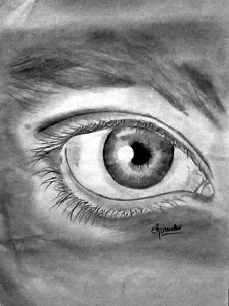 Singh Drawing - eye by Gurinder  Singh
