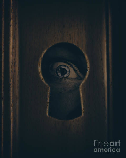 Privacy Photograph - Eye Looking Through Door Keyhole by Jorgo Photography - Wall Art Gallery