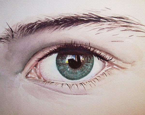 Wall Art - Painting - Eye Realistic Watercolor Watercolour Realism by Irina Sztukowski