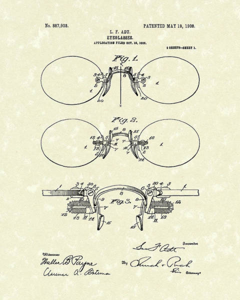 Drawing - Eyeglasses 1908 Patent Art by Prior Art Design