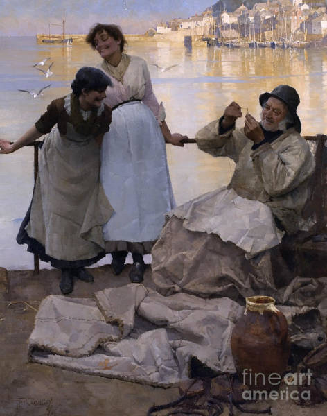 Mending Painting - Eyes And No Eyes by Frank Bramley