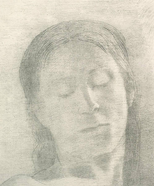 Relief - Eyes Closed by Odilon Redon