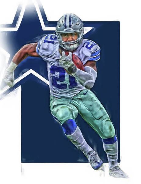 Super Bowl Mixed Media - Ezekiel Elliott Dallas Cowboys Oil Art Series 3 by Joe Hamilton