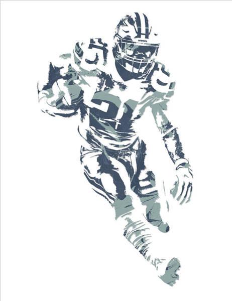 Wall Art - Mixed Media - Ezekiel Elliott Dallas Cowboys Pixel Art 27 by Joe Hamilton