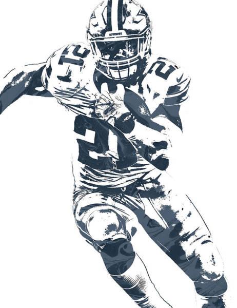 Wall Art - Mixed Media - Ezekiel Elliott Dallas Cowboys Pixel Art 3 by Joe Hamilton