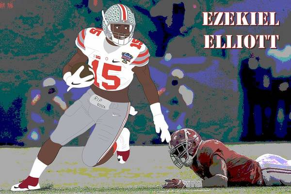 Scoreboard Digital Art - Ezekiel Elliott - Ohio State Buckeyes - 2015 by Troy Arthur Graphics